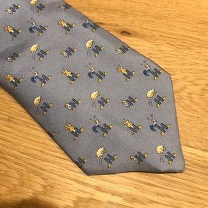 Hermès light blue animal print tie